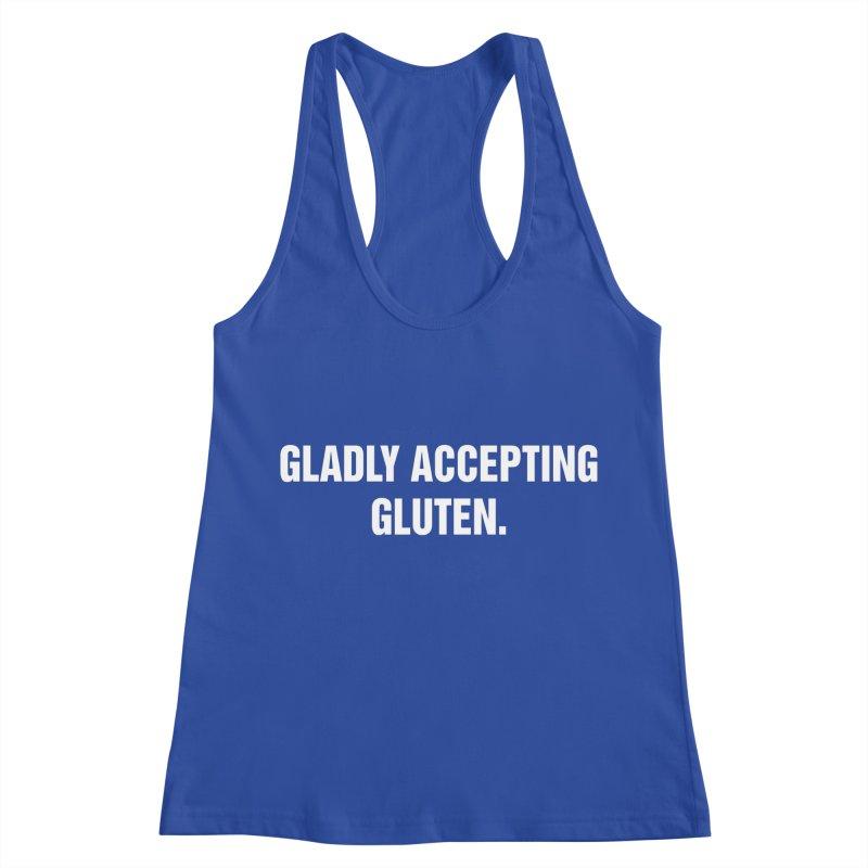 """SIDE EYE/""""Accepting Gluten"""" (White) Women's Racerback Tank by Josh Sabarra's Shop"""