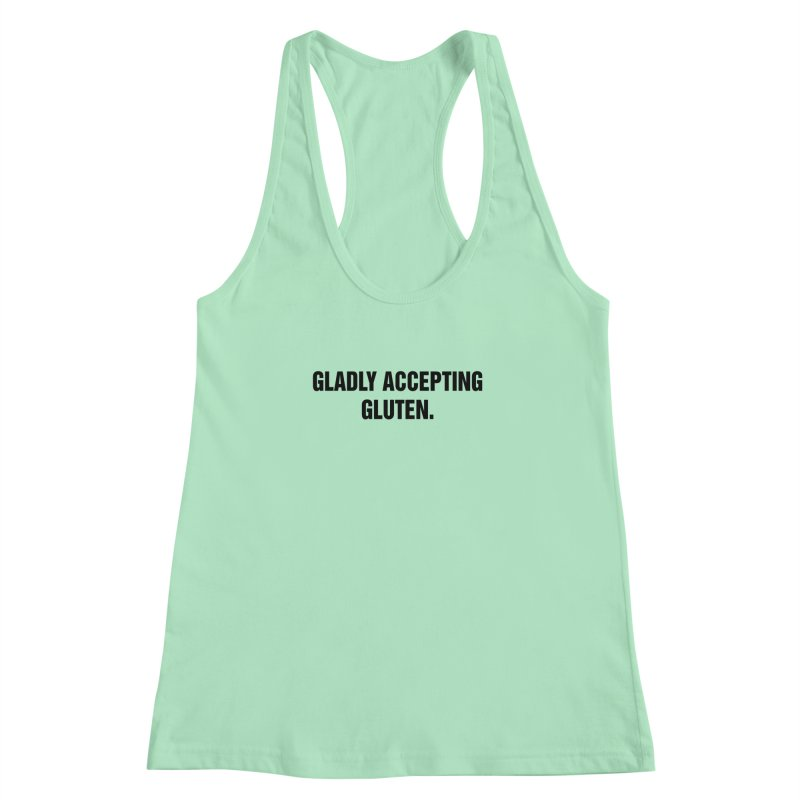 """SIDE EYE/""""Accepting Gluten"""" (Black) Women's Racerback Tank by Josh Sabarra's Shop"""