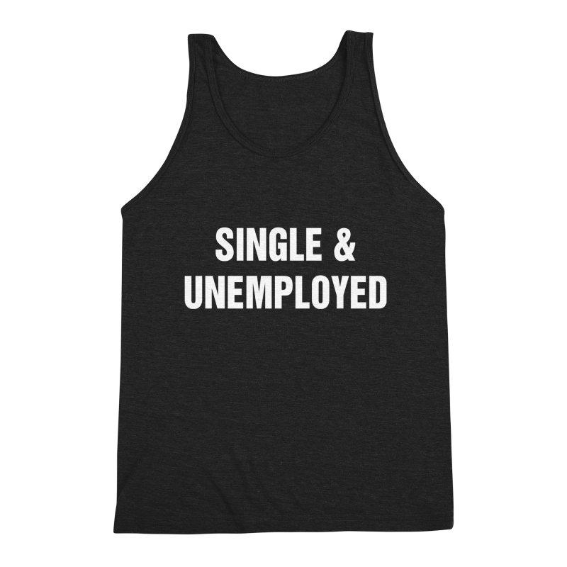 "SIDE EYE/""Single & Unemployed"" (White) Men's Triblend Tank by Josh Sabarra's Shop"