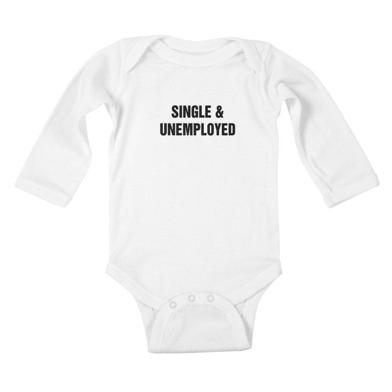 """SIDE EYE/""""Single & Unemployed"""" (Black) Kids Baby Longsleeve Bodysuit by Josh Sabarra's Shop"""