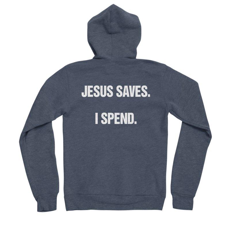 """SIDE EYE/""""Jesus Saves"""" (White) Men's Sponge Fleece Zip-Up Hoody by Josh Sabarra's Shop"""
