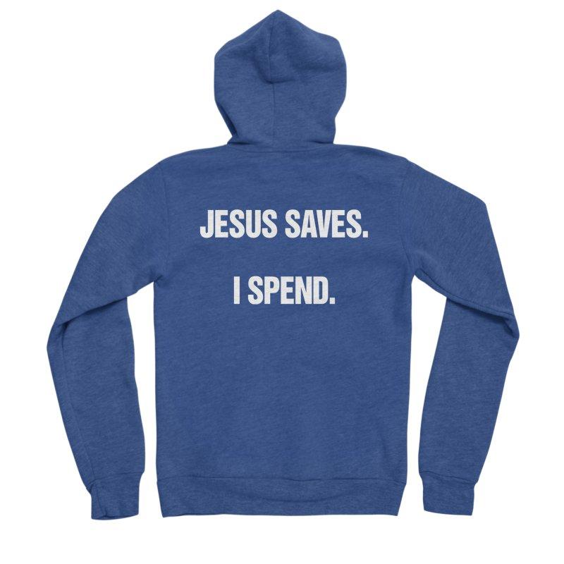 """SIDE EYE/""""Jesus Saves"""" (White) Women's Sponge Fleece Zip-Up Hoody by Josh Sabarra's Shop"""