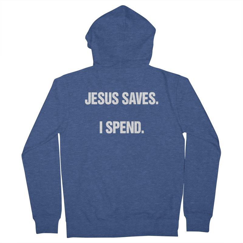 "SIDE EYE/""Jesus Saves"" (White) Men's Zip-Up Hoody by Josh Sabarra's Shop"