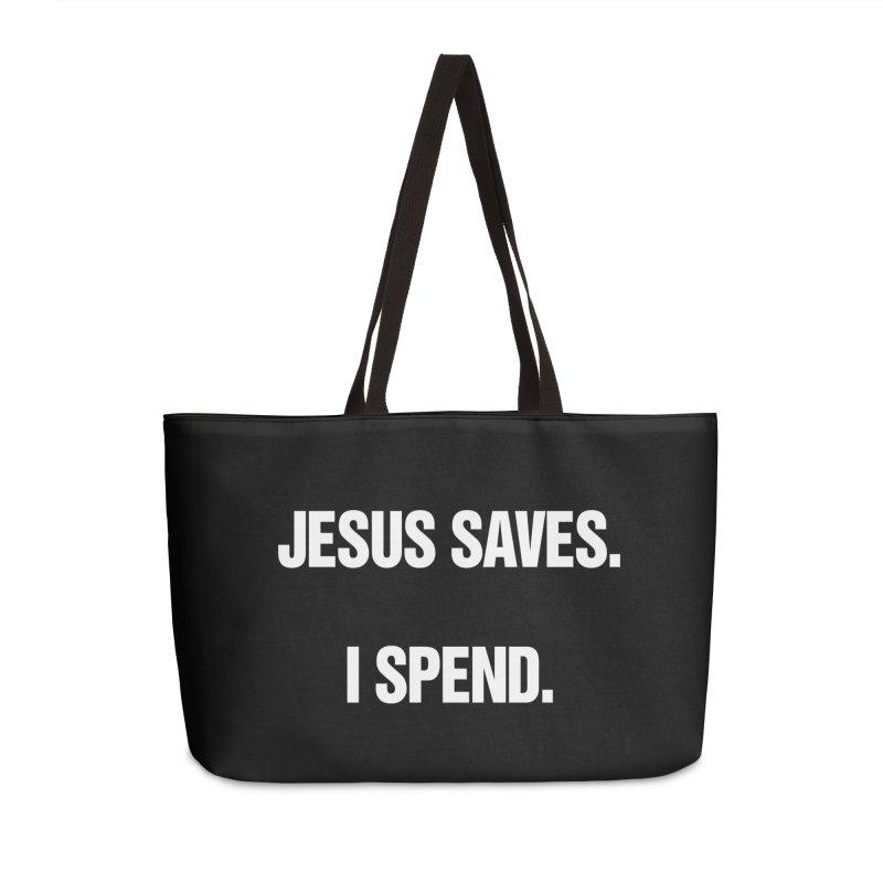 """SIDE EYE/""""Jesus Saves"""" (White) Accessories Weekender Bag Bag by Josh Sabarra's Shop"""