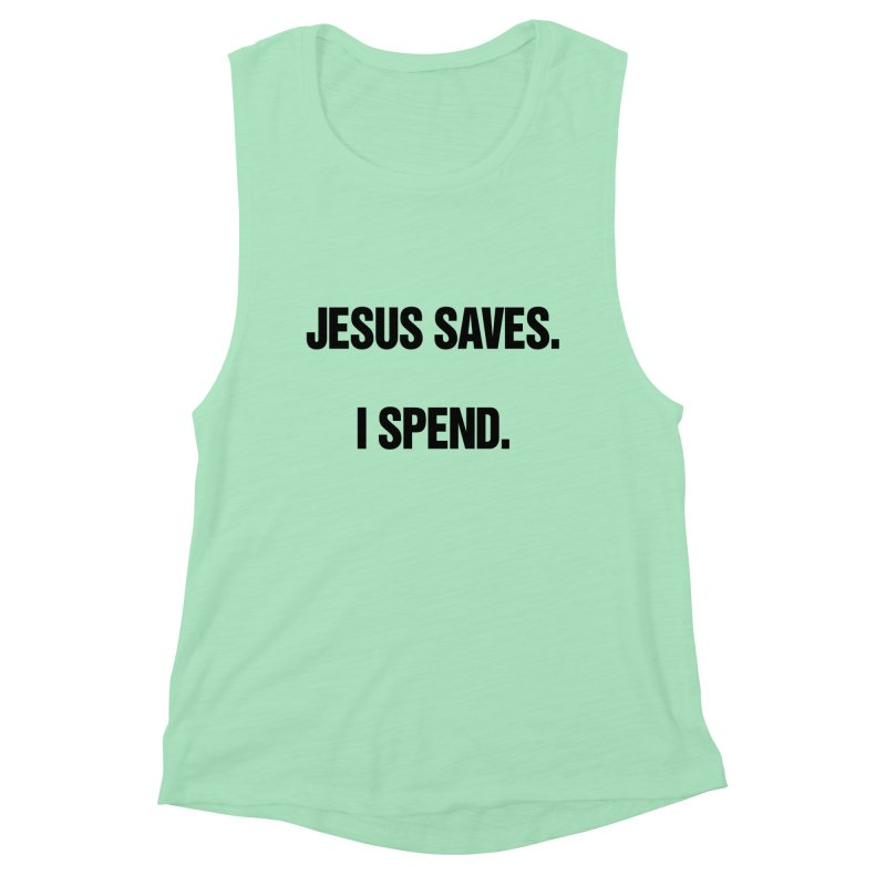 """SIDE EYE/""""Jesus Saves"""" (Black) Women's Muscle Tank by Josh Sabarra's Shop"""