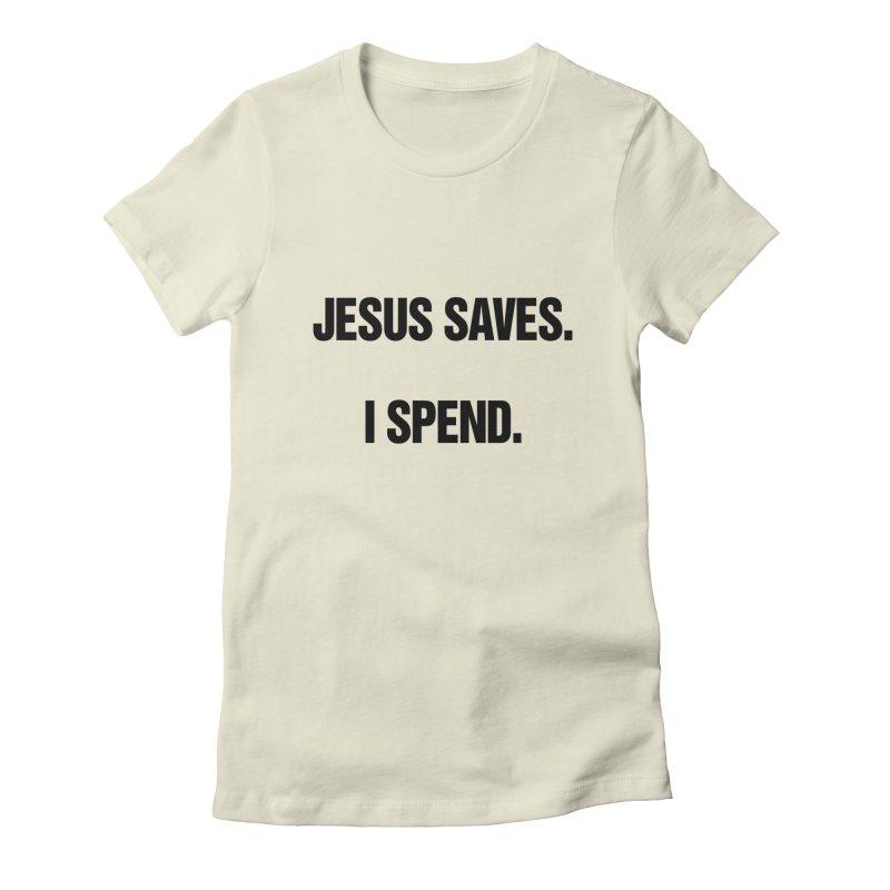 "SIDE EYE/""Jesus Saves"" (Black) Women's Fitted T-Shirt by Josh Sabarra's Shop"
