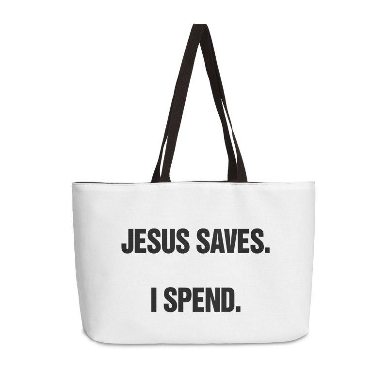 """SIDE EYE/""""Jesus Saves"""" (Black) Accessories Weekender Bag Bag by Josh Sabarra's Shop"""