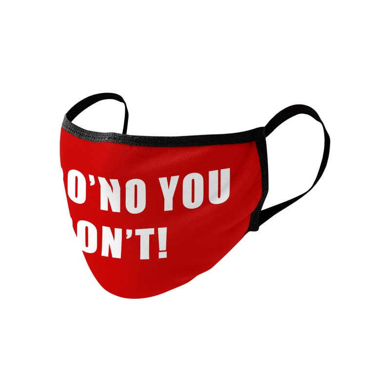 "SIDE EYE/""Coro'No You Don't!"" (White, Red) Accessories Face Mask by Josh Sabarra's Shop"