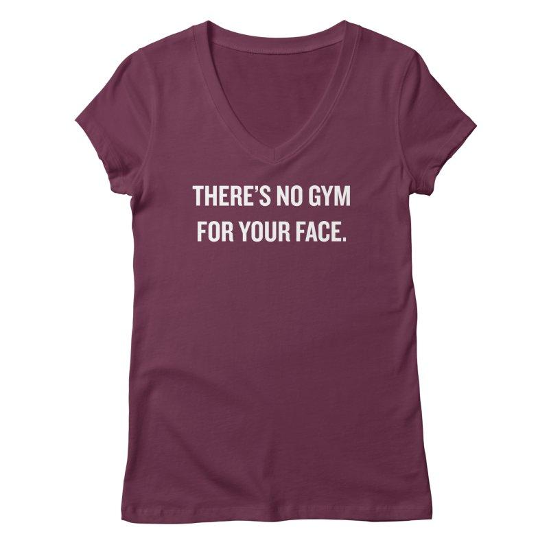 "SIDE EYE/""No Gym"" (White) Women's V-Neck by Josh Sabarra's Shop"