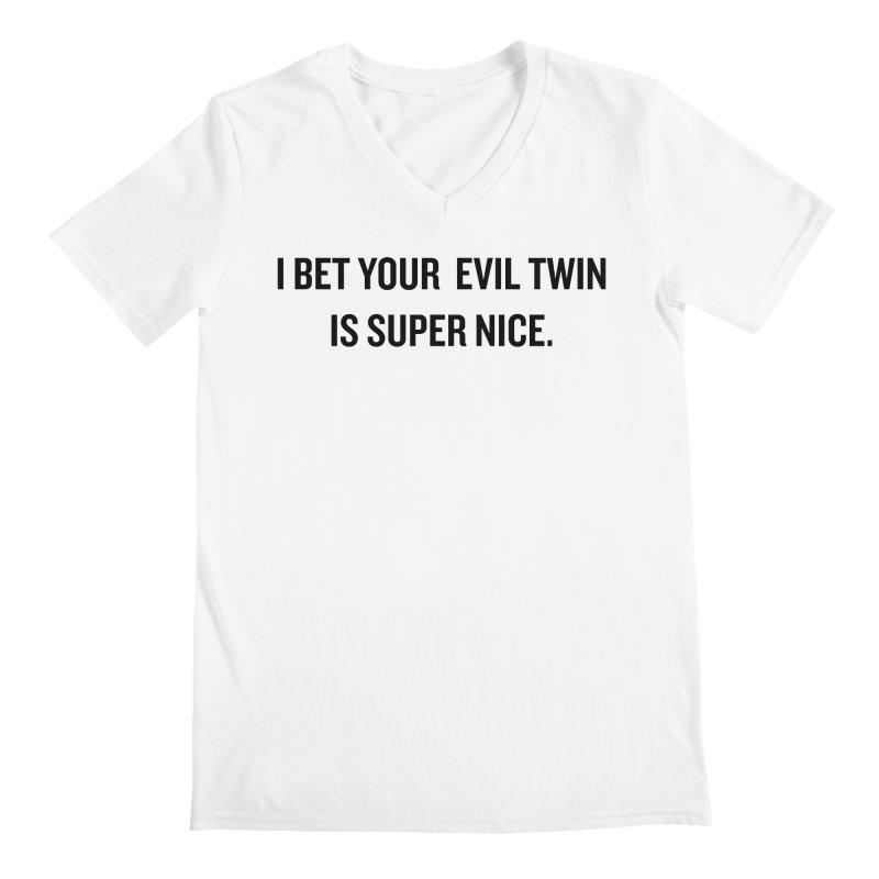 "SIDE EYE/""Evil Twin"" (Black) Men's V-Neck by Josh Sabarra's Shop"