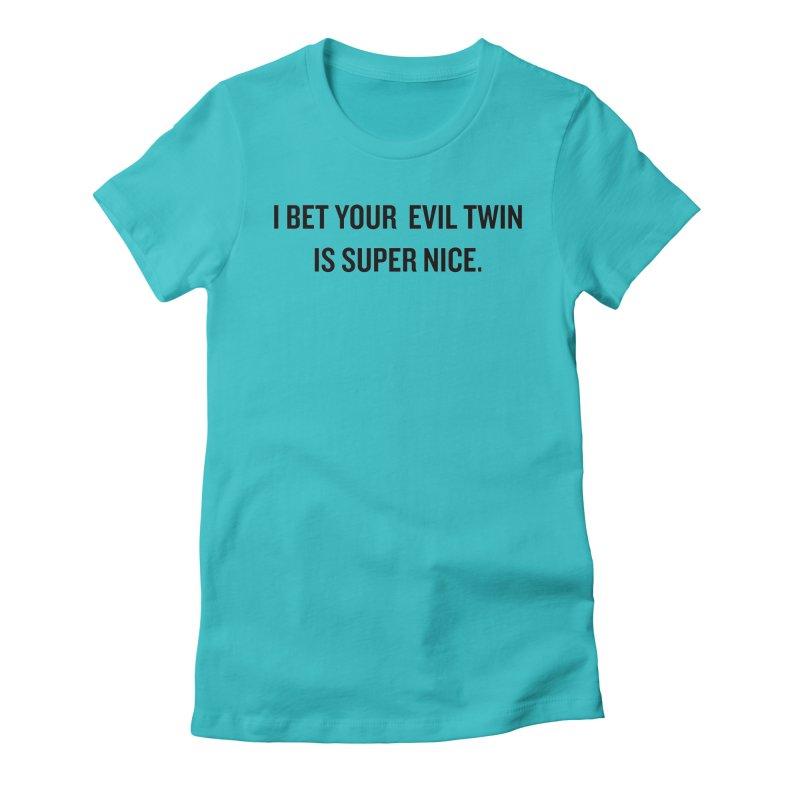 """SIDE EYE/""""Evil Twin"""" (Black) Women's Fitted T-Shirt by Josh Sabarra's Shop"""