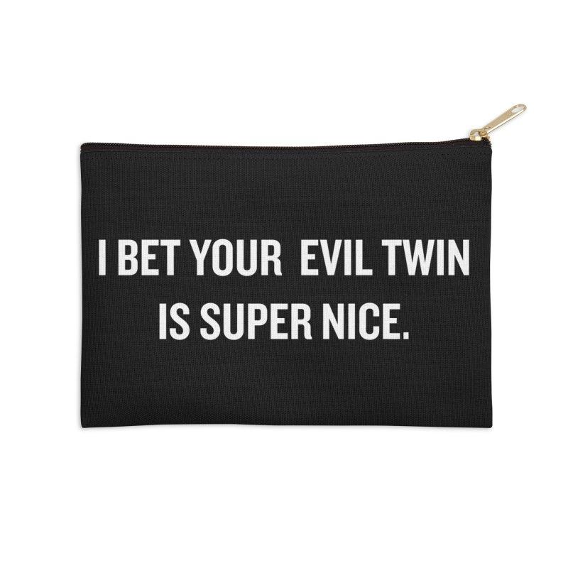 "SIDE EYE/""Evil Twin"" (White) Accessories Zip Pouch by Josh Sabarra's Shop"