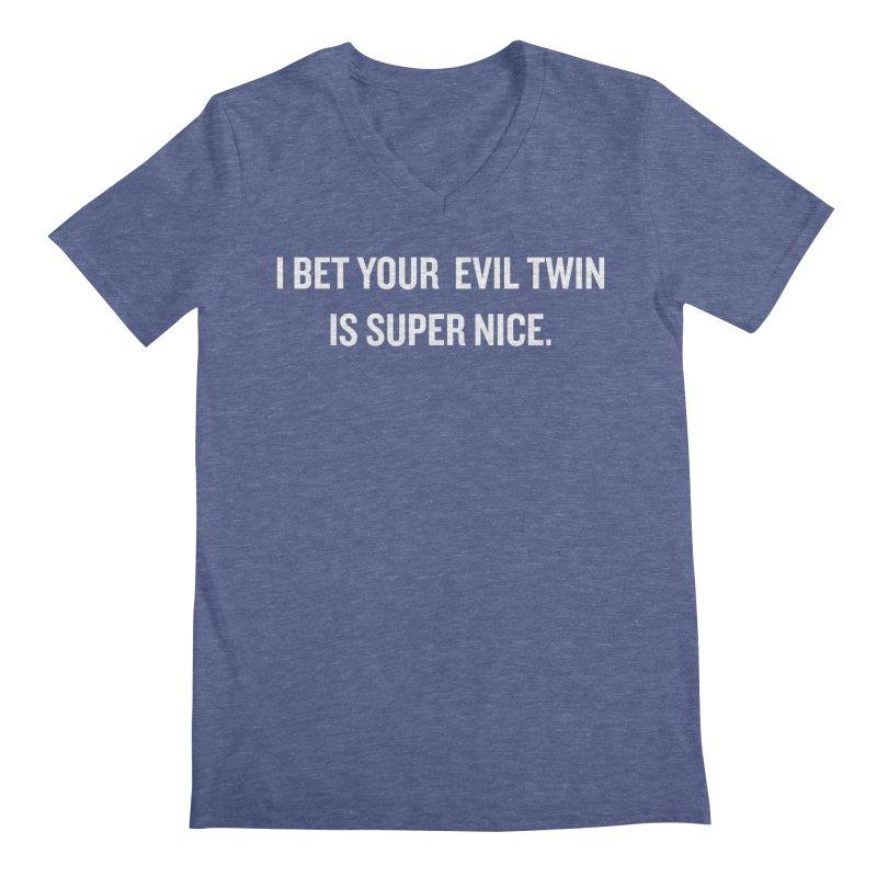 "SIDE EYE/""Evil Twin"" (White) Men's V-Neck by Josh Sabarra's Shop"