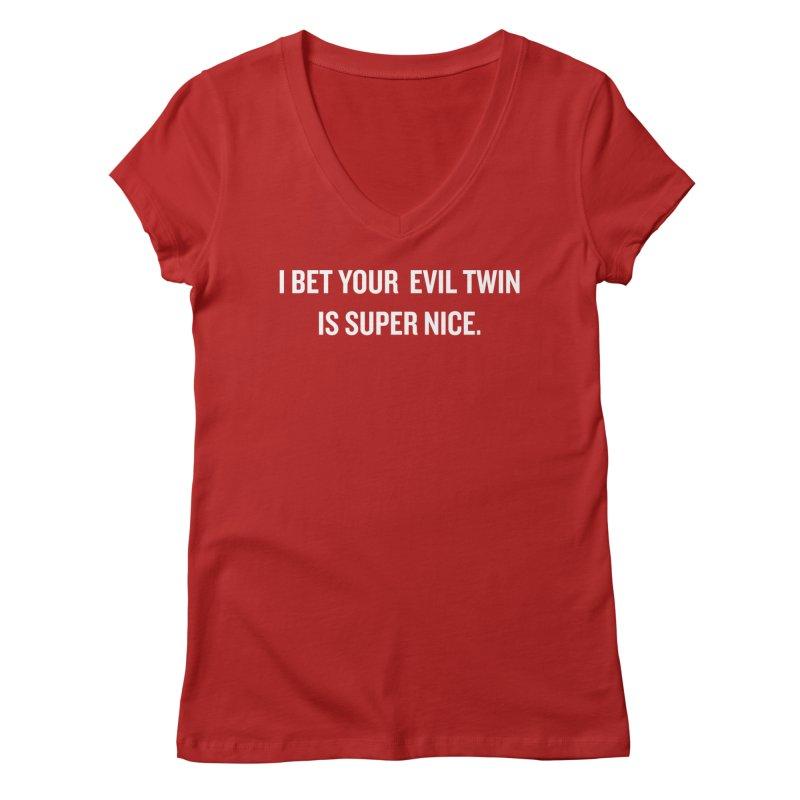 "SIDE EYE/""Evil Twin"" (White) Women's V-Neck by Josh Sabarra's Shop"