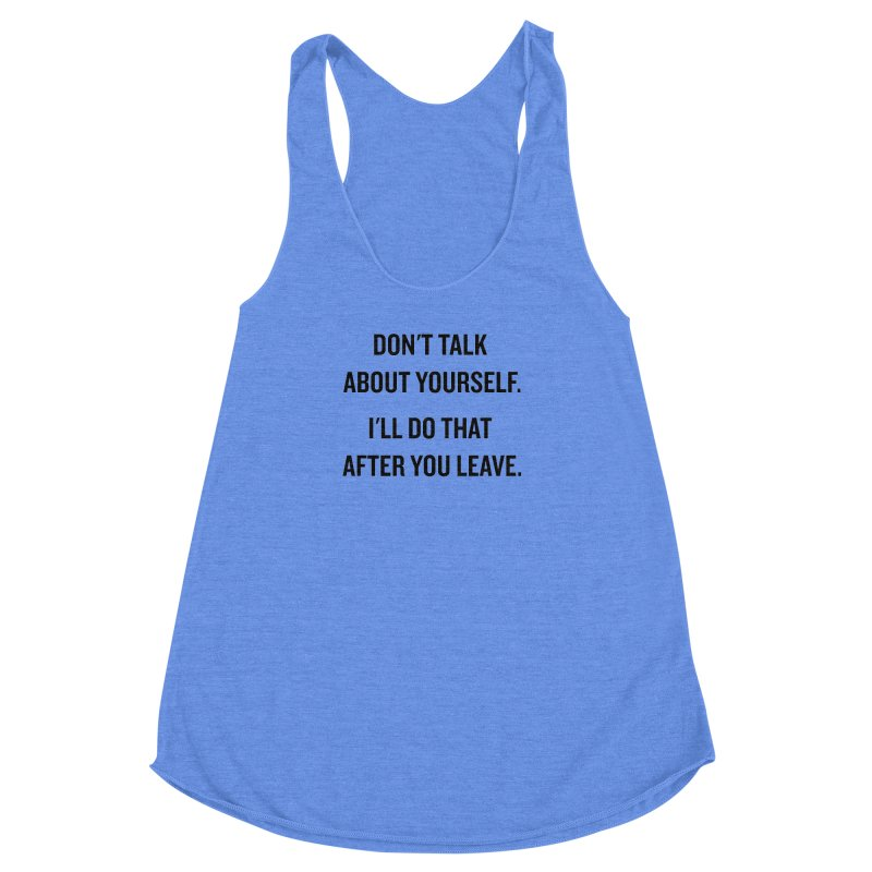 "SIDE EYE/""Talk About Yourself"" (Black) Women's Racerback Triblend Tank by Josh Sabarra's Shop"
