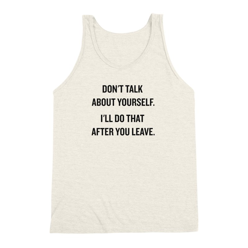 "SIDE EYE/""Talk About Yourself"" (Black) Men's Triblend Tank by Josh Sabarra's Shop"