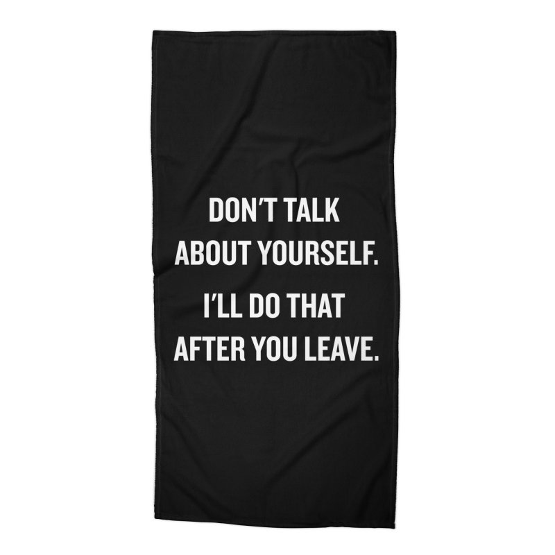 "SIDE EYE/""Talk About Yourself"" (White) Accessories Beach Towel by Josh Sabarra's Shop"