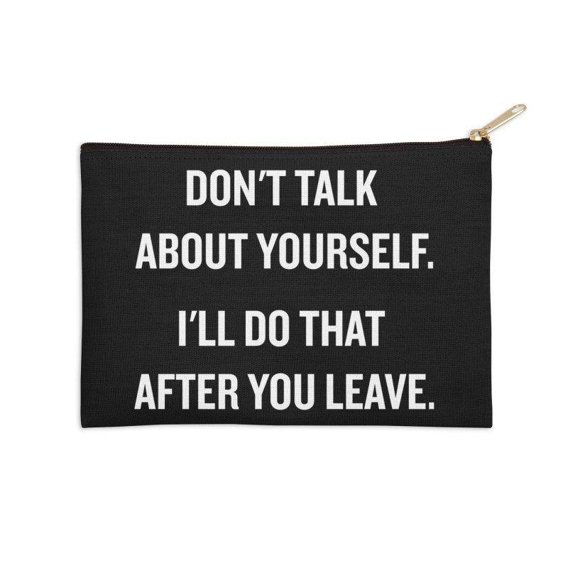 "SIDE EYE/""Talk About Yourself"" (White) Accessories Zip Pouch by Josh Sabarra's Shop"