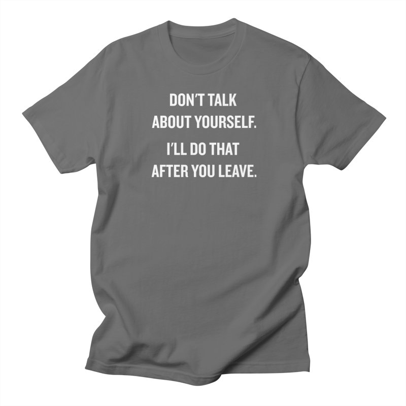 "SIDE EYE/""Talk About Yourself"" (White) Men's T-shirt by Josh Sabarra's Shop"