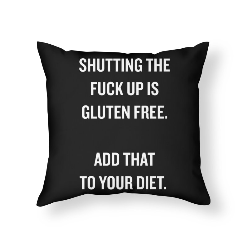 "SIDE EYE/""Gluten Free"" (White) Home Throw Pillow by Josh Sabarra's Shop"