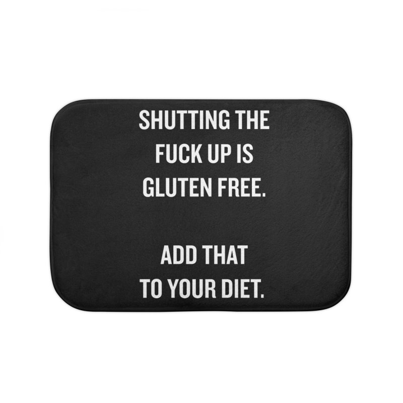 "SIDE EYE/""Gluten Free"" (White) Home Bath Mat by Josh Sabarra's Shop"