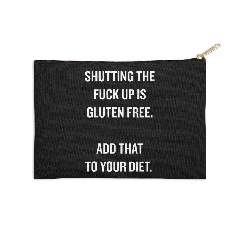 """SIDE EYE/""""Gluten Free"""" (White) Accessories Zip Pouch by Josh Sabarra's Shop"""