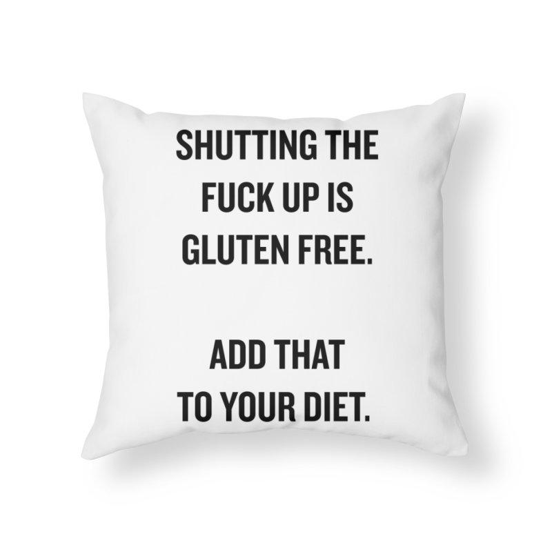 "SIDE EYE/""Gluten Free"" (Black) Home Throw Pillow by Josh Sabarra's Shop"