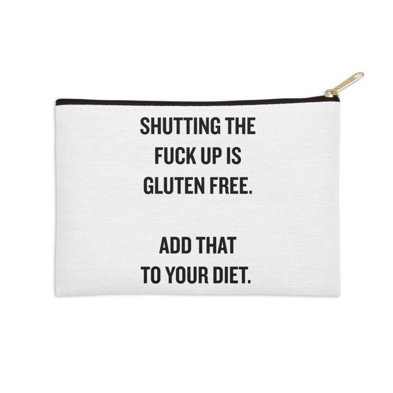 """SIDE EYE/""""Gluten Free"""" (Black) Accessories Zip Pouch by Josh Sabarra's Shop"""
