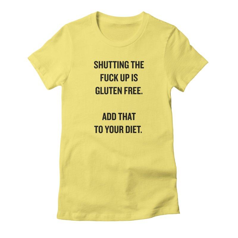 """SIDE EYE/""""Gluten Free"""" (Black) Women's Fitted T-Shirt by Josh Sabarra's Shop"""