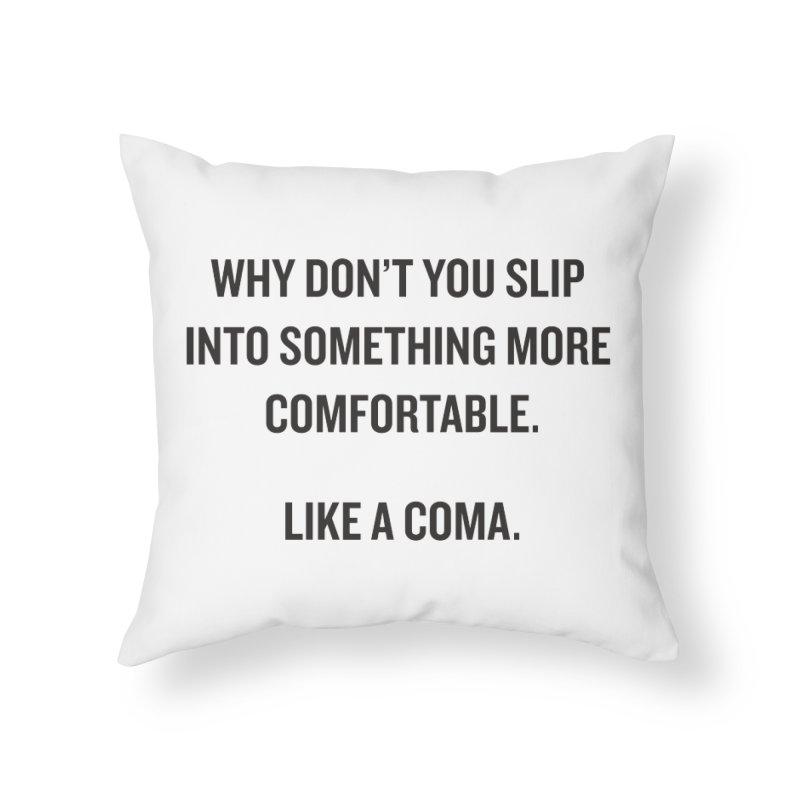 "SIDE EYE/""Coma"" (Black) Home Throw Pillow by Josh Sabarra's Shop"
