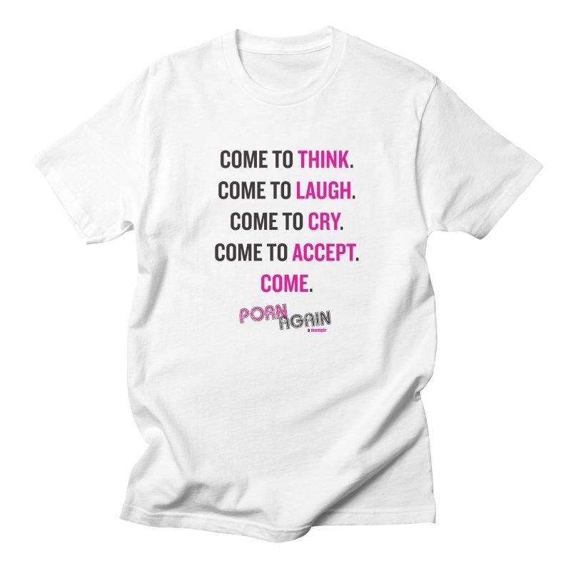 """PORN AGAIN/""""Come"""" (Black/Pink) Men's T-Shirt by Josh Sabarra's Shop"""