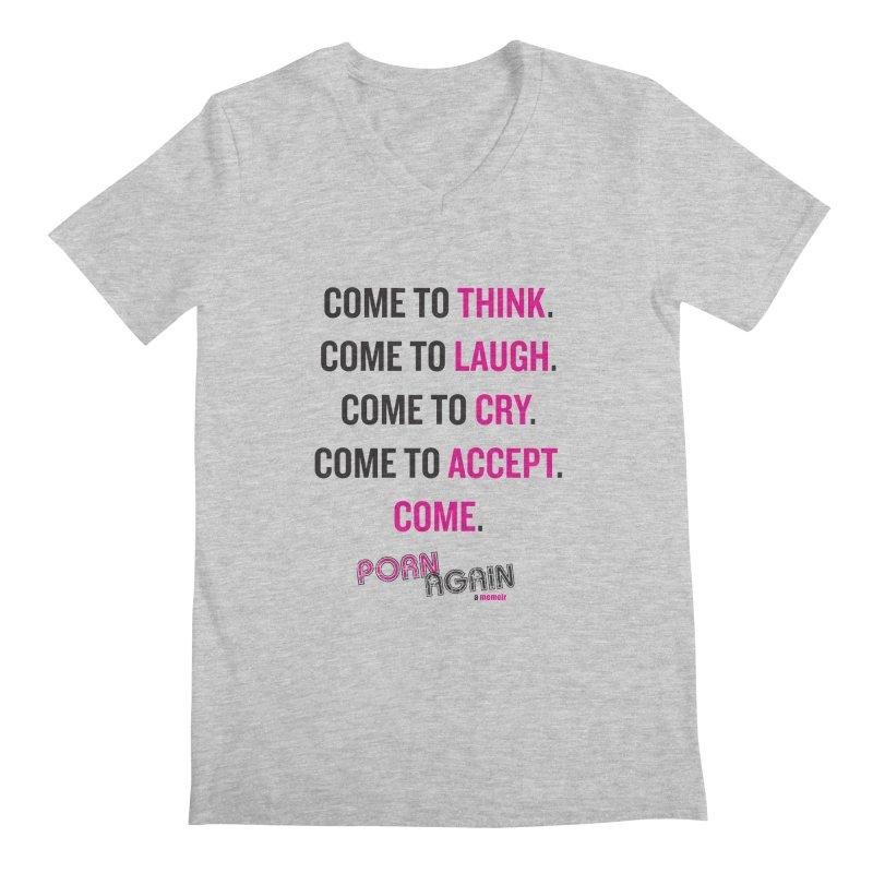 """PORN AGAIN/""""Come"""" (Black/Pink) Men's V-Neck by Josh Sabarra's Shop"""