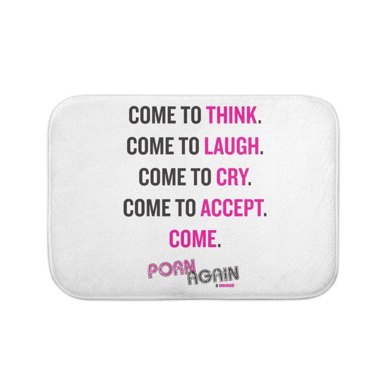"""PORN AGAIN/""""Come"""" (Black/Pink) Home Bath Mat by Josh Sabarra's Shop"""