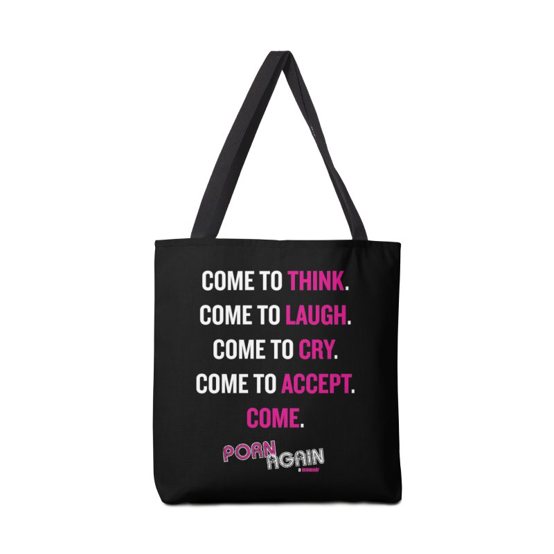 "PORN AGAIN/""Come"" (White/Pink) Accessories Bag by Josh Sabarra's Shop"