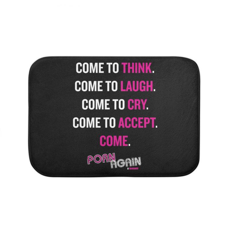 """PORN AGAIN/""""Come"""" (White/Pink) Home Bath Mat by Josh Sabarra's Shop"""