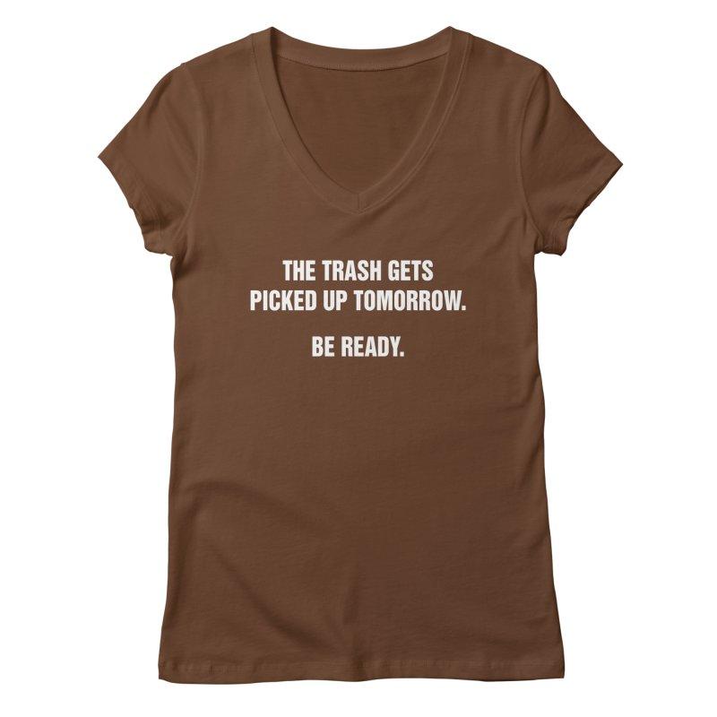 "SIDE EYE/""Trash"" (White) Women's V-Neck by Josh Sabarra's Shop"