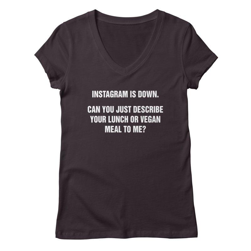 "SIDE EYE/""Instagram Lunch"" (White) Women's V-Neck by Josh Sabarra's Shop"