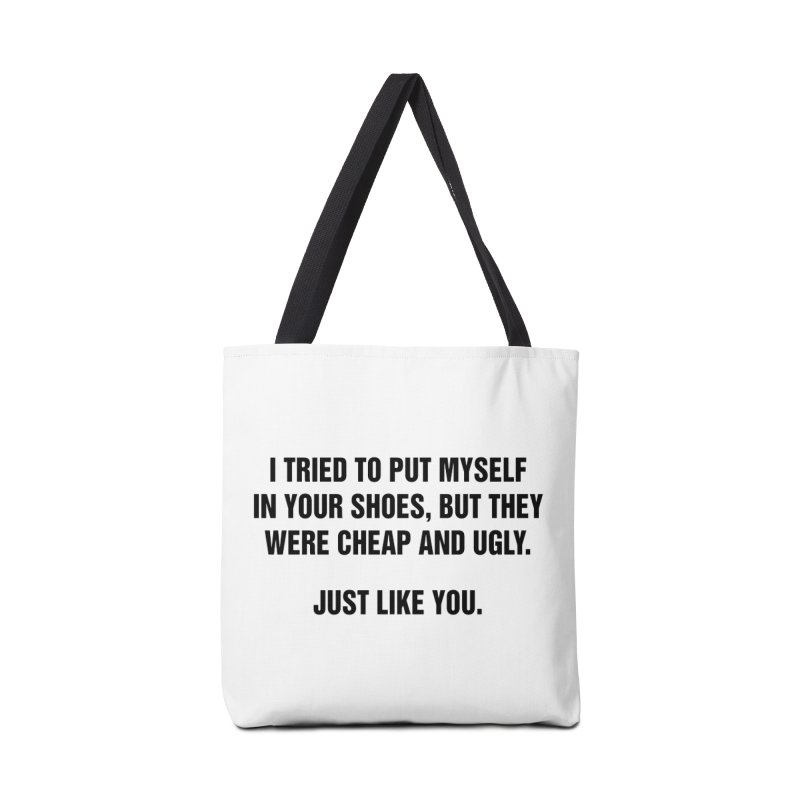 """SIDE EYE/""""Your Shoes"""" (Black) Accessories Bag by Josh Sabarra's Shop"""