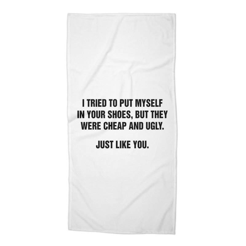 "SIDE EYE/""Your Shoes"" (Black) Accessories Beach Towel by Josh Sabarra's Shop"