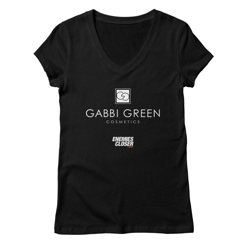 "ENEMIES CLOSER/""Gabbi Green"" (White) Women's V-Neck by Josh Sabarra's Shop"