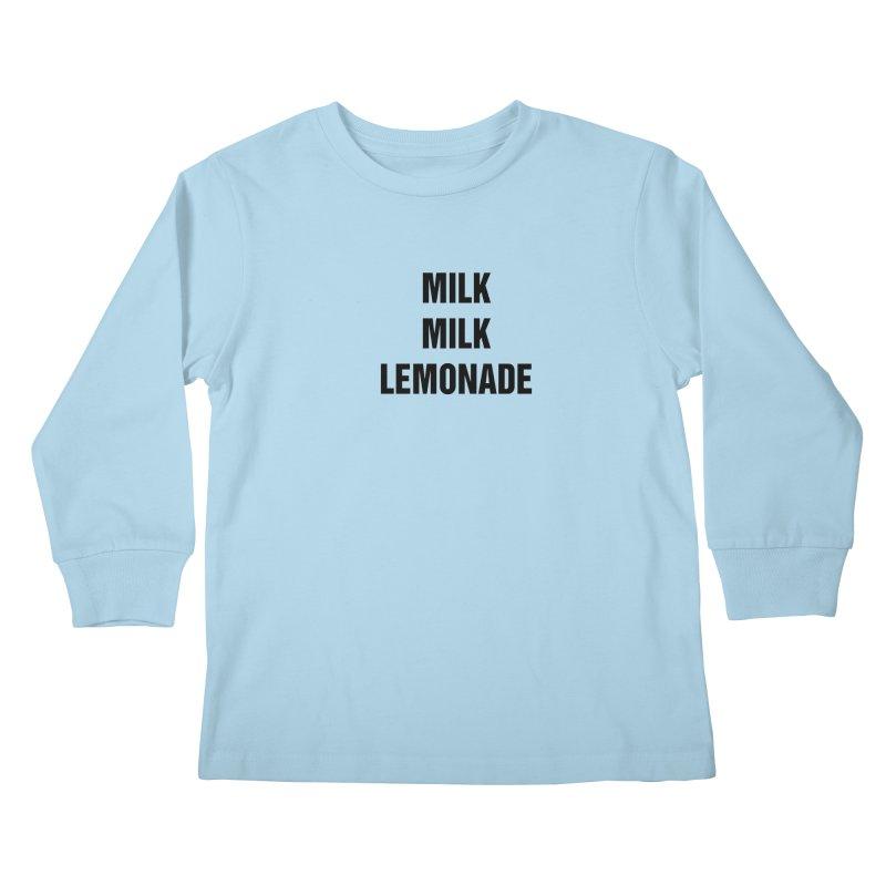 """SIDE EYE/""""Milk, Milk"""" (Black) Kids Longsleeve T-Shirt by Josh Sabarra's Shop"""