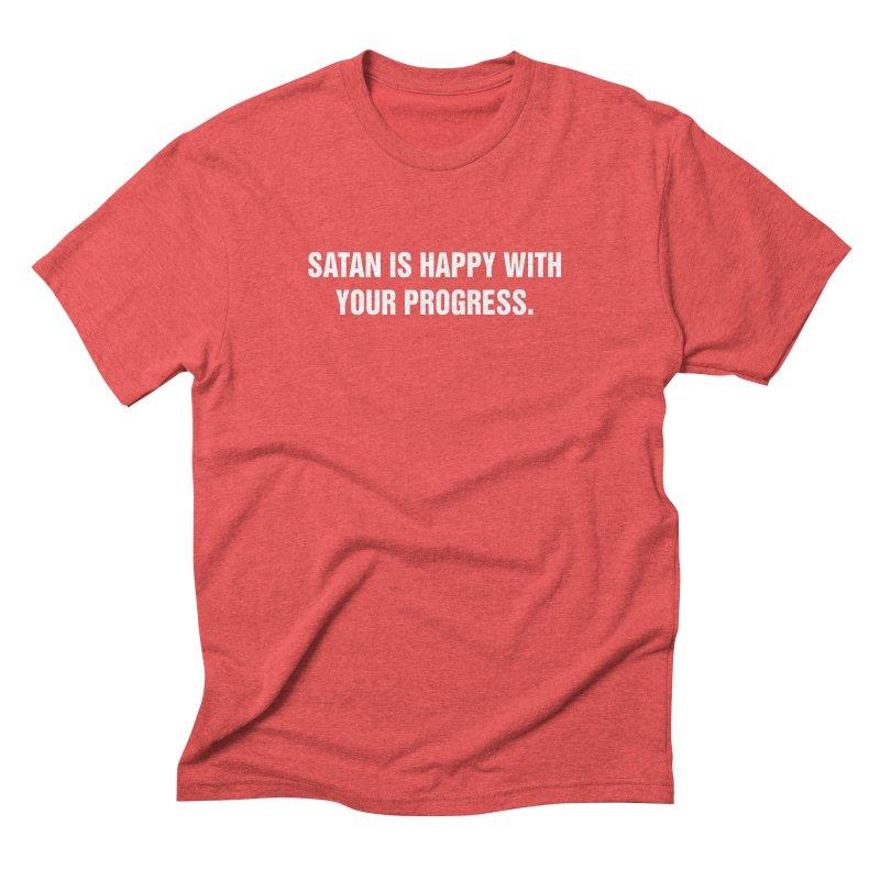 """SIDE EYE/""""Satan"""" (White) Men's Triblend T-Shirt by Josh Sabarra's Shop"""