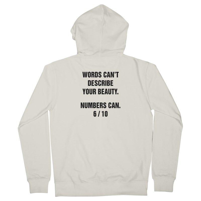 "SIDE EYE/""Beautiful Words"" (Black) Women's French Terry Zip-Up Hoody by Josh Sabarra's Shop"