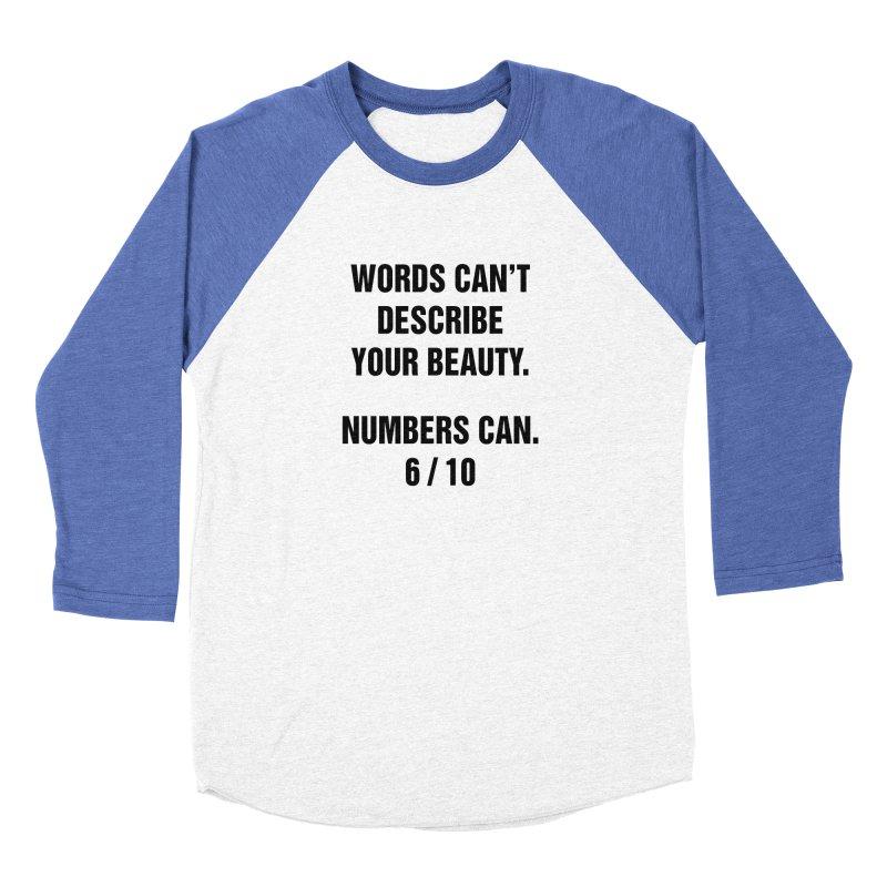 """SIDE EYE/""""Beautiful Words"""" (Black) in Women's Baseball Triblend Longsleeve T-Shirt Tri-Blue Sleeves by Josh Sabarra's Shop"""