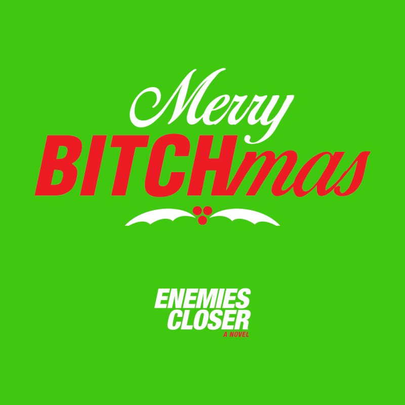 "ENEMIES CLOSER/""Bitchmas"" (White/Red) Men's Pullover Hoody by Josh Sabarra's Shop"