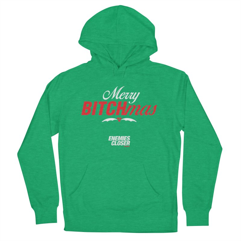 """ENEMIES CLOSER/""""Bitchmas"""" (White/Red) in Men's French Terry Pullover Hoody Heather Kelly by Josh Sabarra's Shop"""