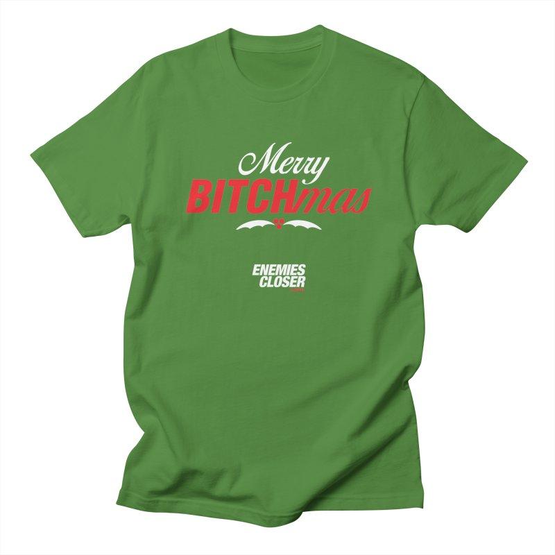 "ENEMIES CLOSER/""Bitchmas"" (White/Red) Men's Regular T-Shirt by Josh Sabarra's Shop"