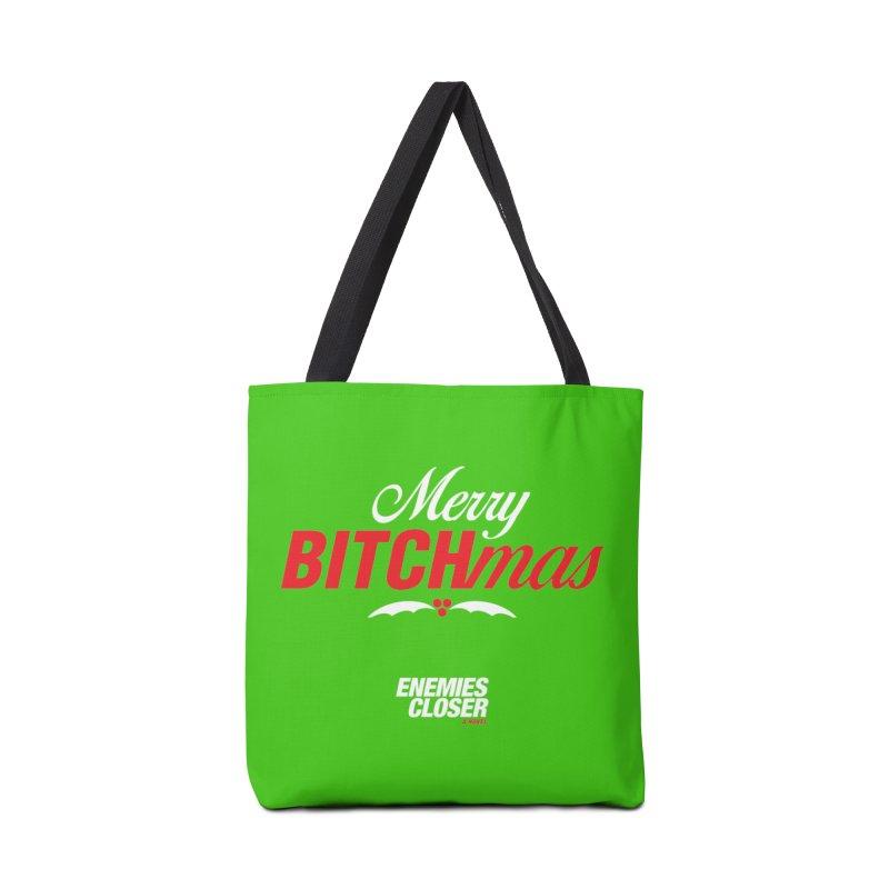 "ENEMIES CLOSER/""Bitchmas"" (White/Red) Accessories Bag by Josh Sabarra's Shop"