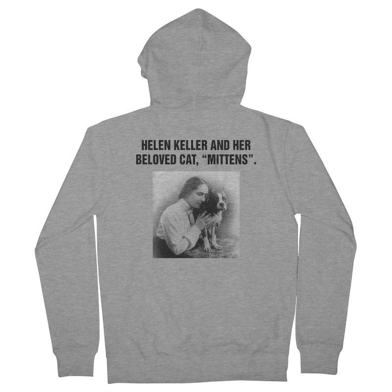 """SIDE EYE/""""Helen Keller's Cat"""" (Black) Women's French Terry Zip-Up Hoody by Josh Sabarra's Shop"""