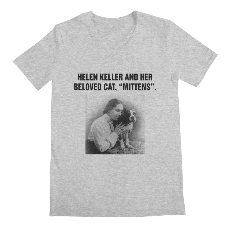 "SIDE EYE/""Helen Keller's Cat"" (Black) Men's Regular V-Neck by Josh Sabarra's Shop"